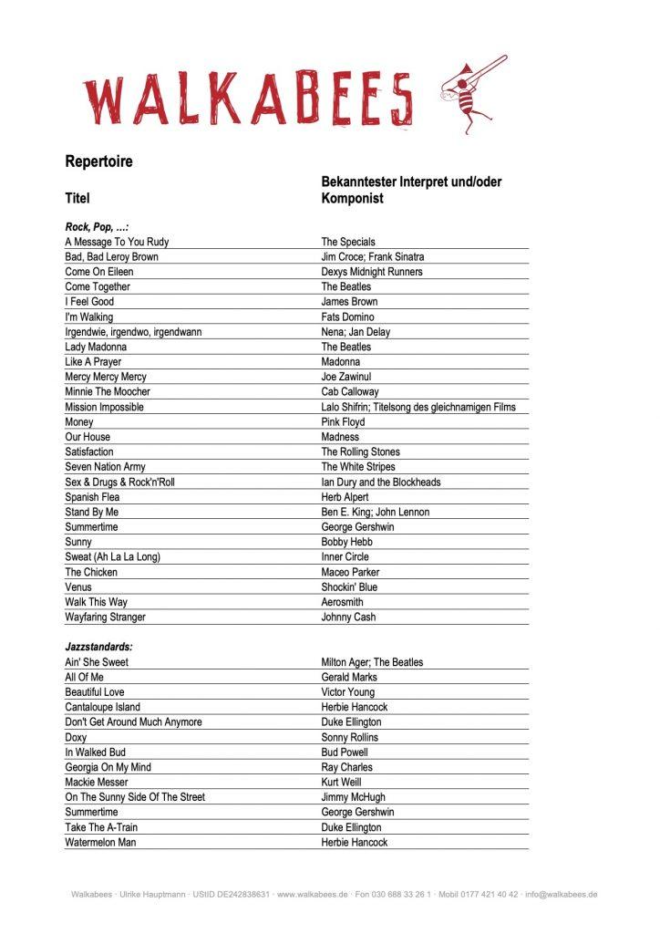 Walkabees Repertoire - Seite 1